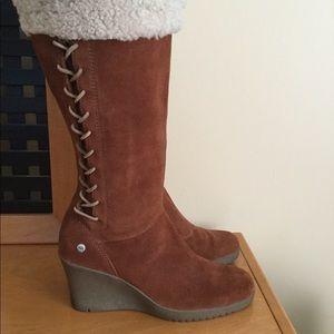 Ugg brown suede wedge boots.